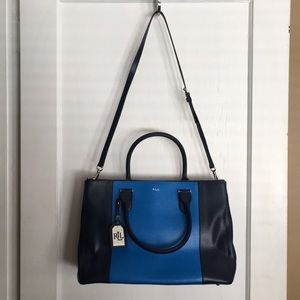Ralph Lauren leather navy and royal blue tote bag